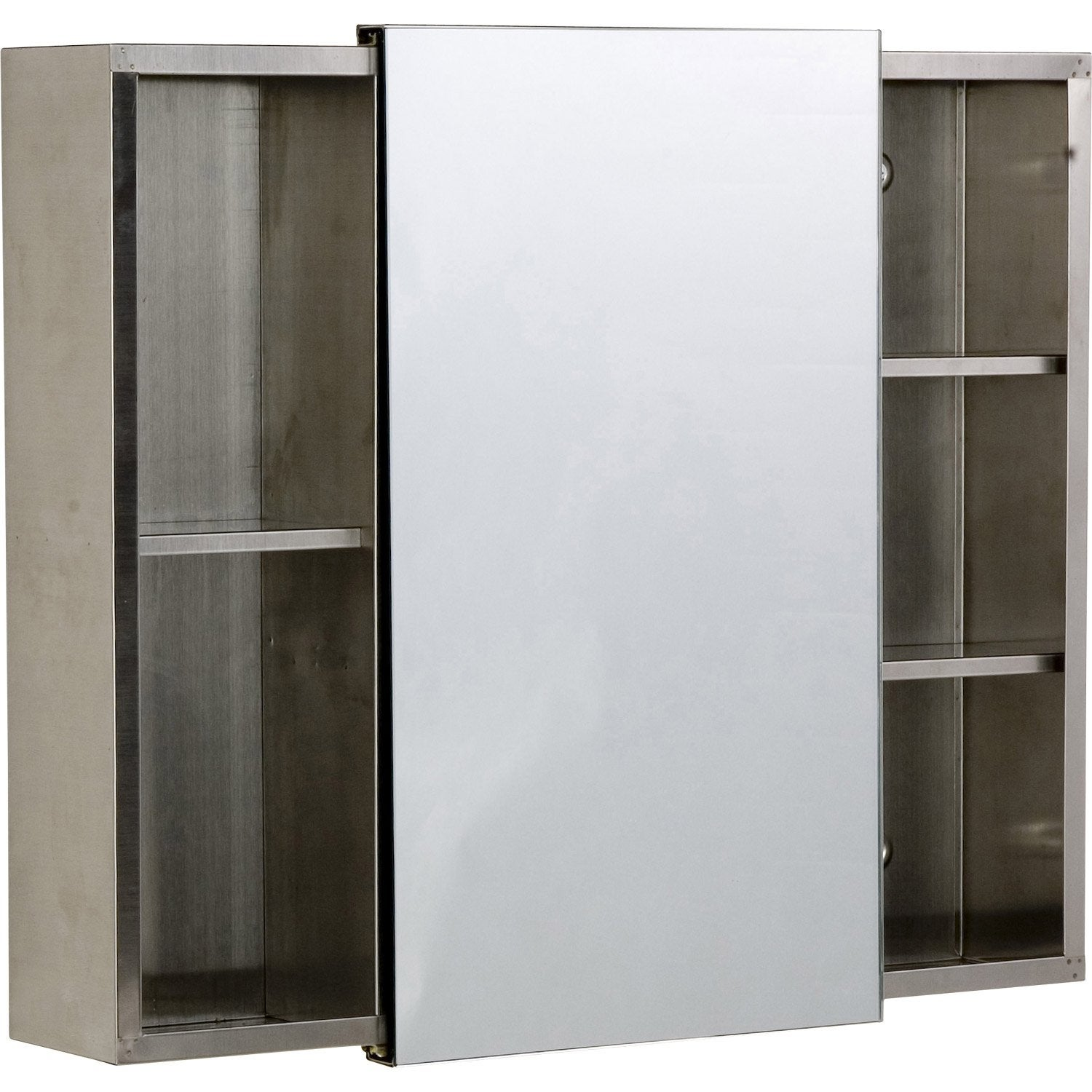 Armoire de toilette gris cm sensea krom leroy merlin for Armoire toilette
