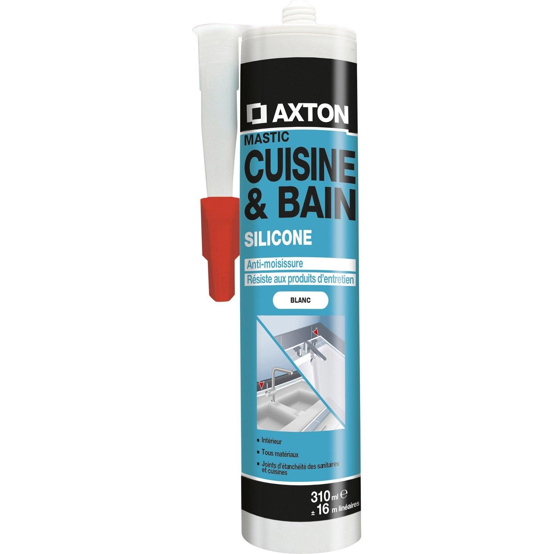 Mastic d 39 tanch it axton cuisine et bain 310 ml blanc leroy merlin - Joint acrylique leroy merlin ...