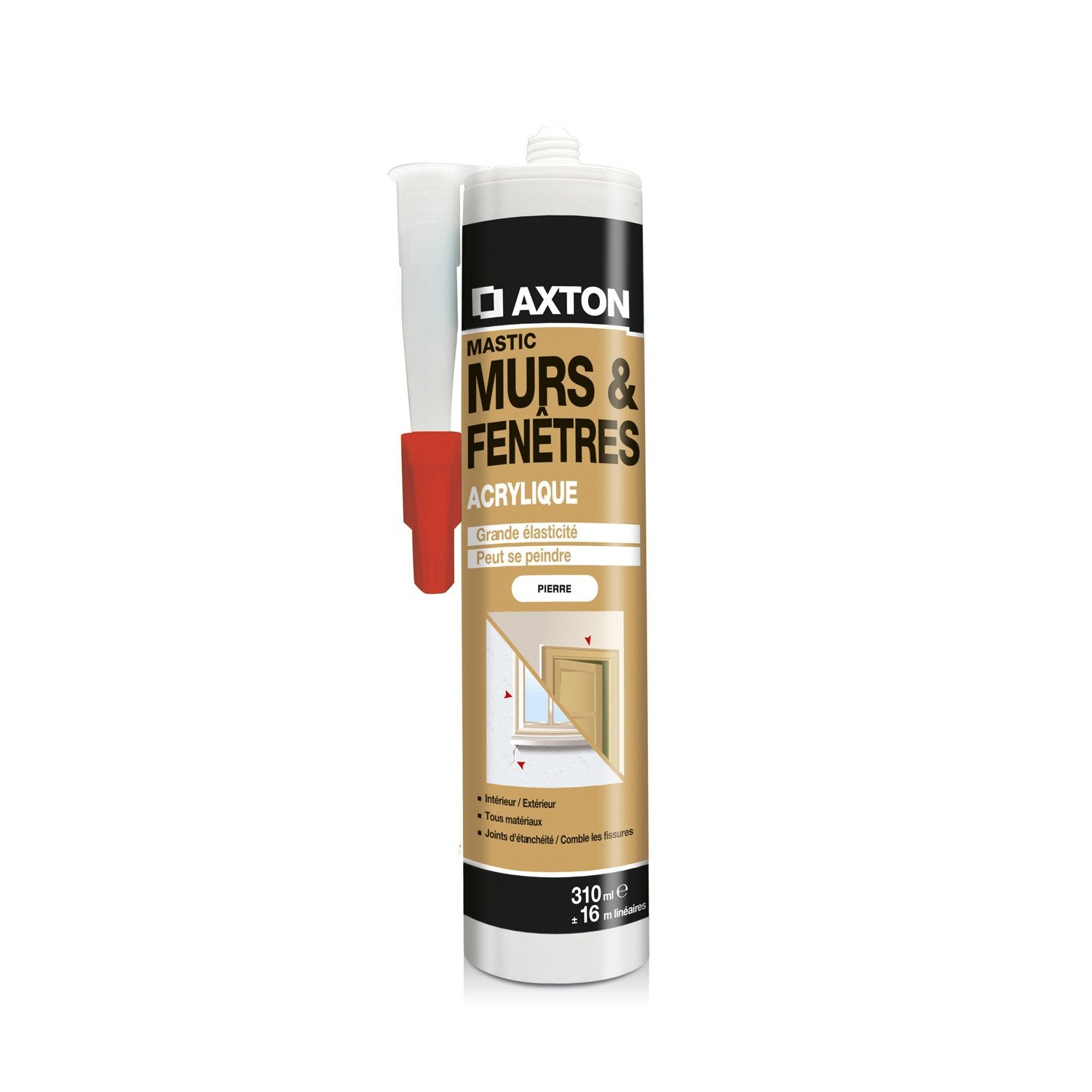 Mastic d 39 tanch it axton mur et fen tre 310 ml ton pierre for Mastic fenetre bois