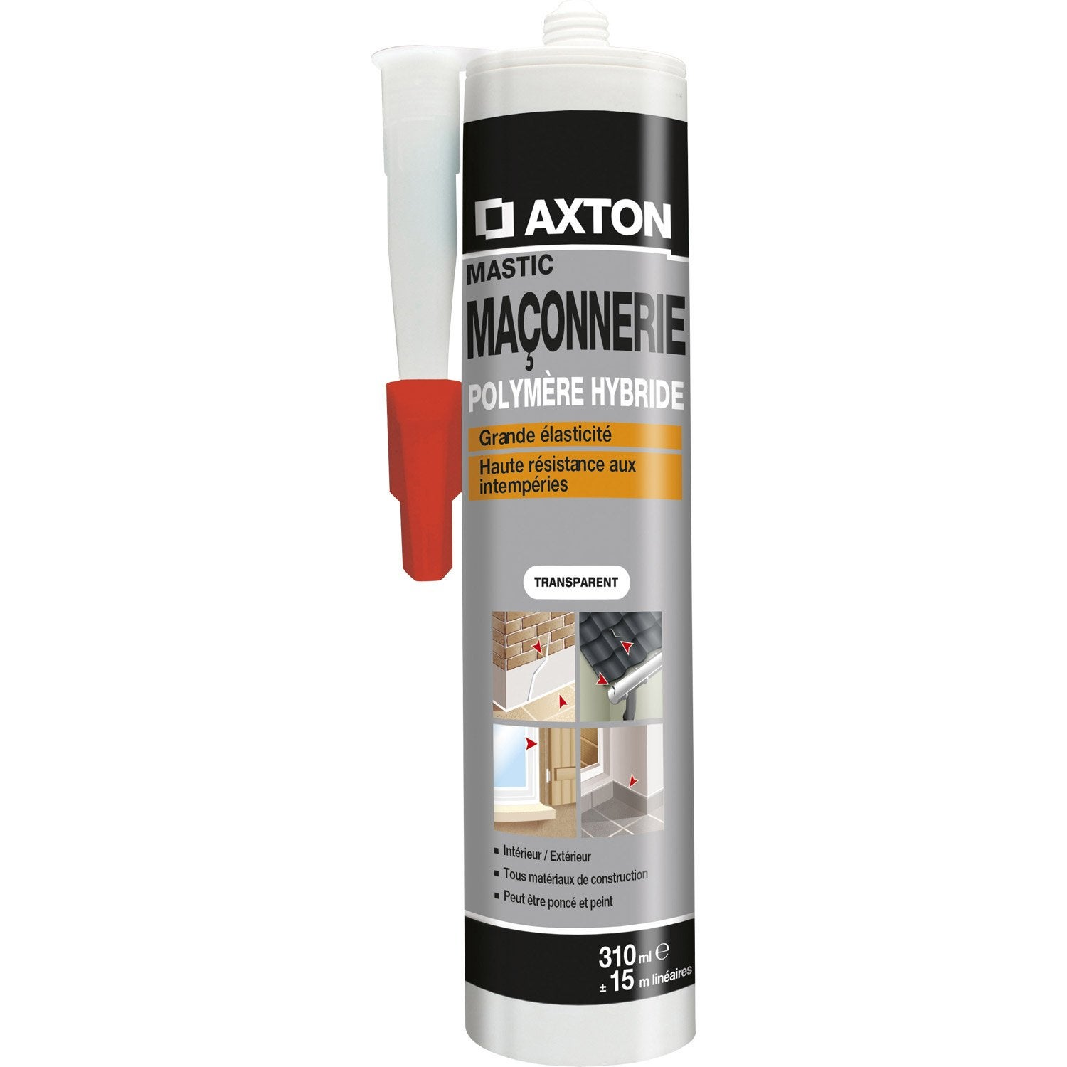 Mastic d 39 tanch it axton ma onnerie 310 ml translucide for Mastic bois exterieur