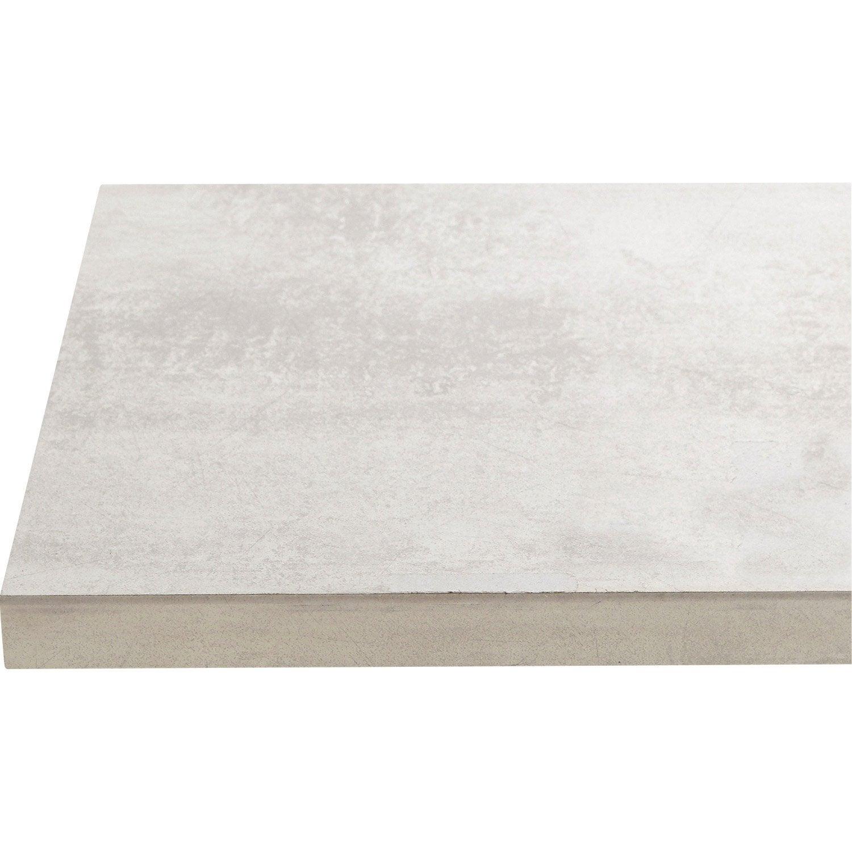 plan de travail stratifié effet béton blanc satiné l.246 x p.63.5