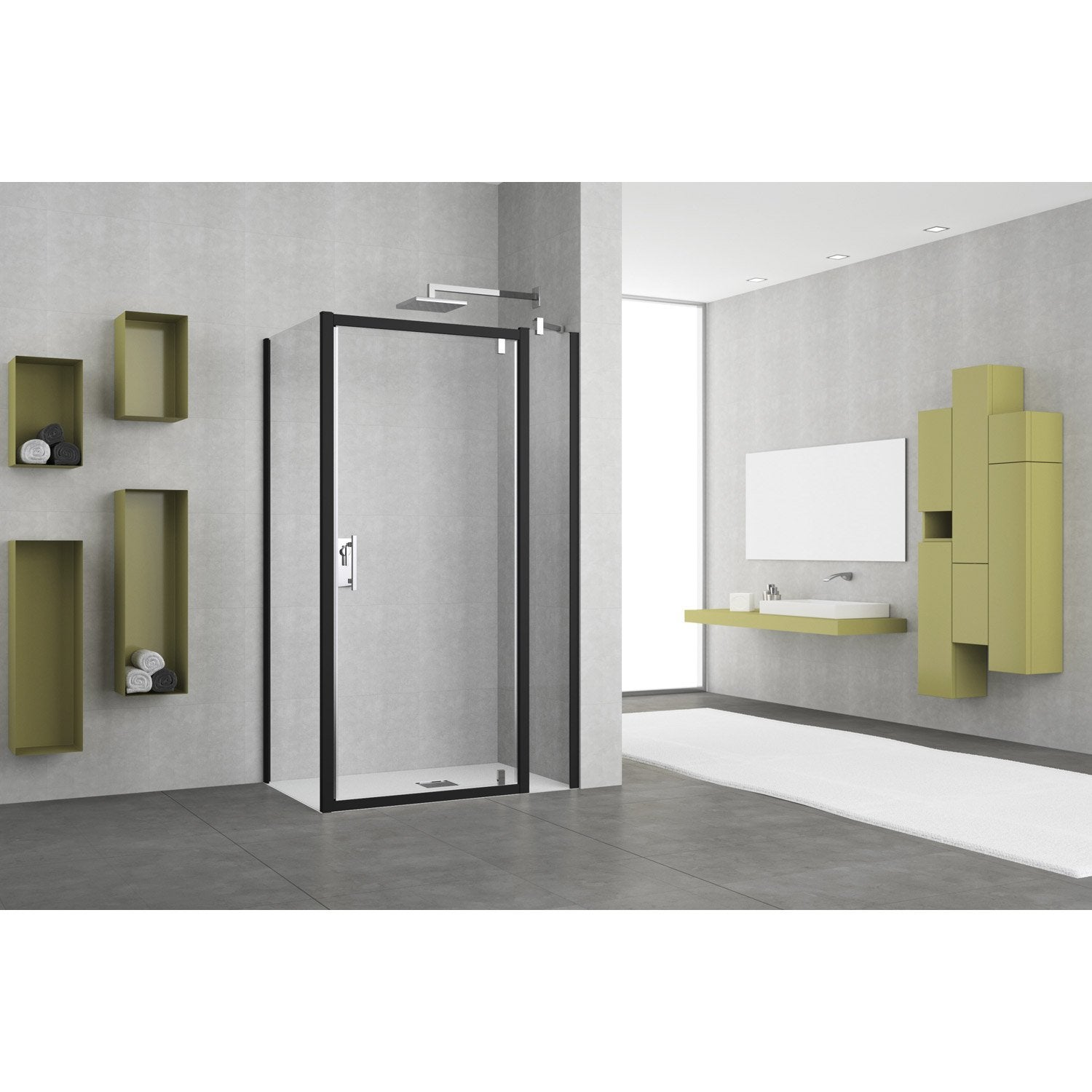 porte de douche pivotante 84 90 cm profil noir elyt leroy merlin. Black Bedroom Furniture Sets. Home Design Ideas