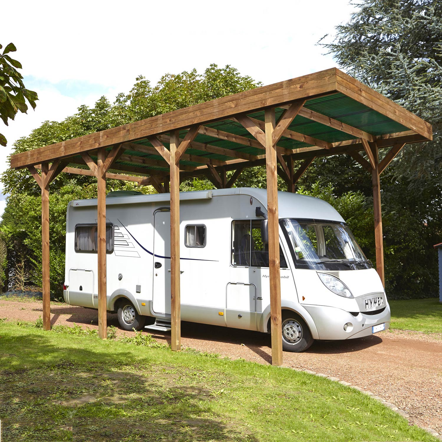 carport bois camping car 1 voiture 28 6 m leroy merlin. Black Bedroom Furniture Sets. Home Design Ideas