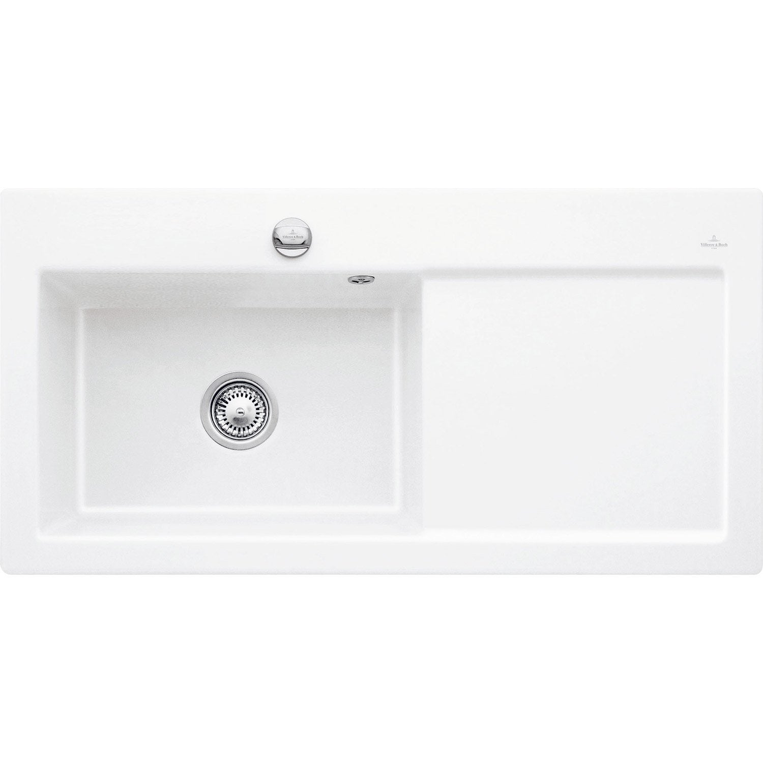 Evier encastrer c ramique blanc sila 1 grand bac avec for Carrelage ceramique leroy merlin