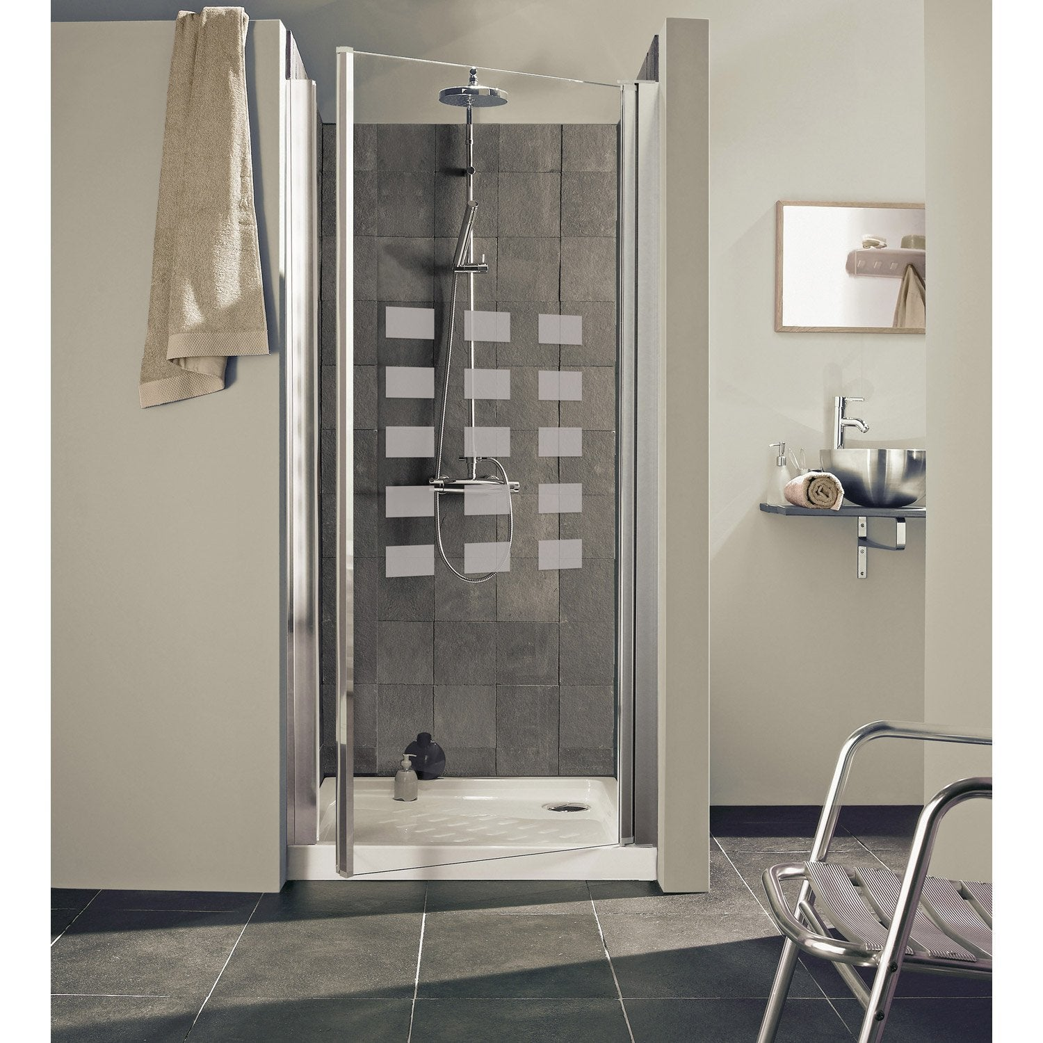 Porte de douche pivotante 87 91 cm profil chrom hekla for Deumidificatore leroy merlin