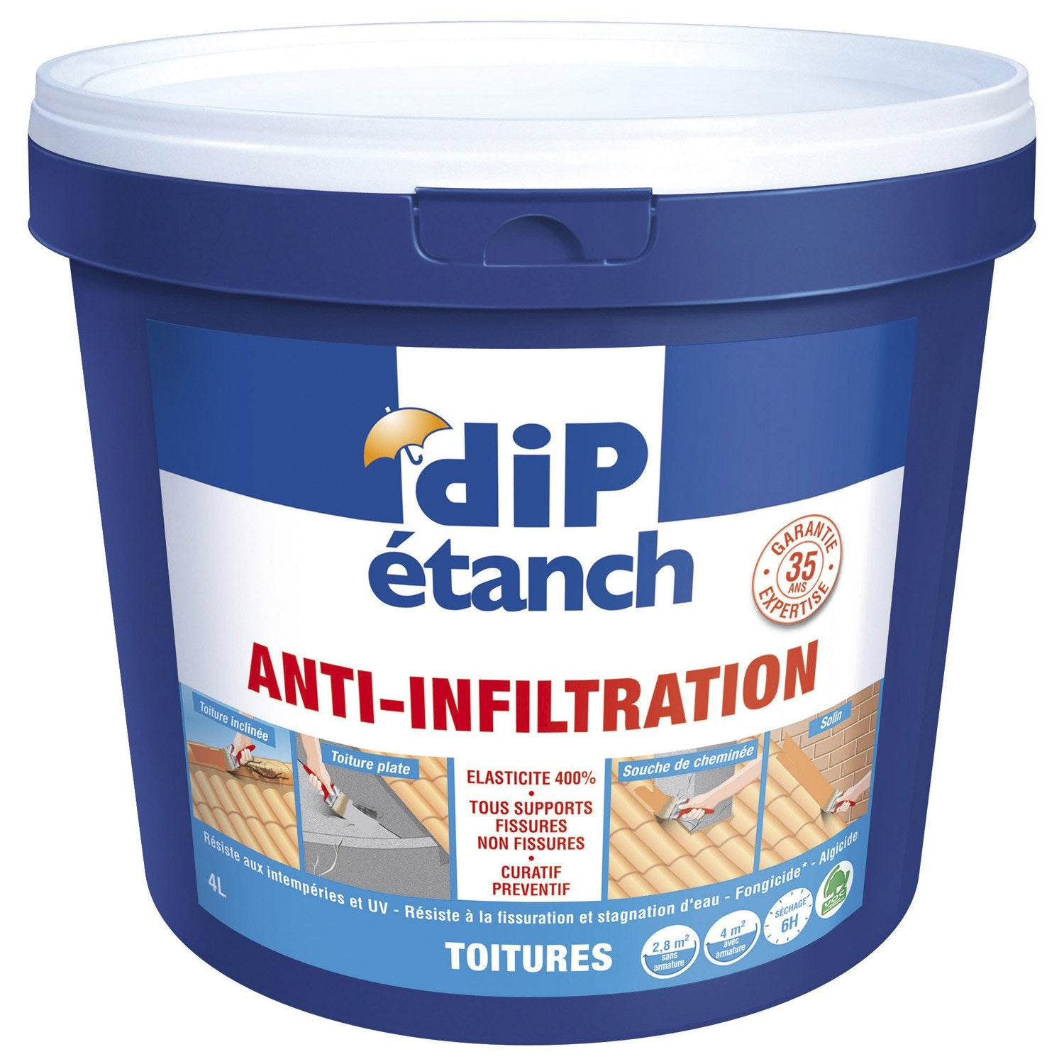Rev tement d 39 tanch it toiture anti infiltration dip terre cuite 4 l - Dip etanch anti infiltration ...