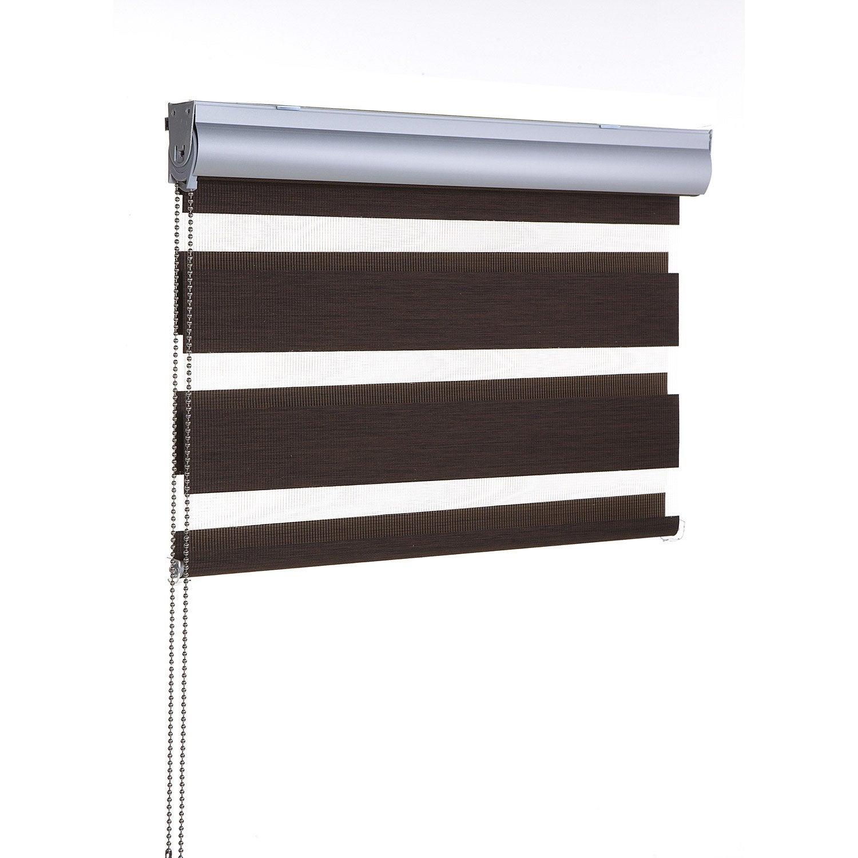 store enrouleur jour nuit polyester coffre aluminium marron 117 120 x 210 cm leroy merlin. Black Bedroom Furniture Sets. Home Design Ideas