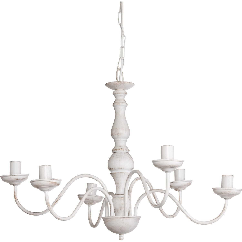 Lustre classique charles m tal blanc 6 x 40 w sampa helios for Lustre terrasse exterieur