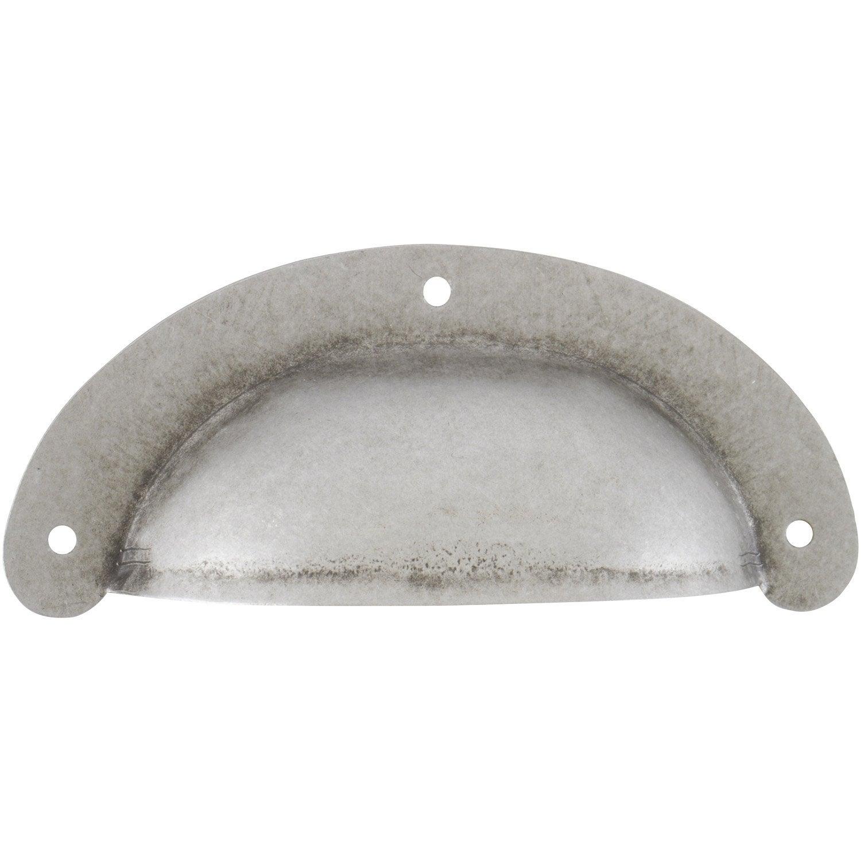Poign e de meuble coquille acier forg entraxe 70 mm - Poignee de porte fer forge leroy merlin ...