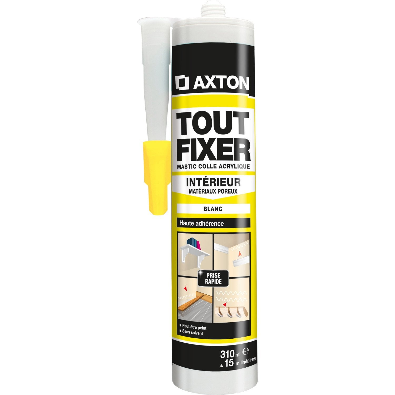 Colle mastic tout fixer axton 310 ml leroy merlin for Peut on coller du carrelage sur du bois