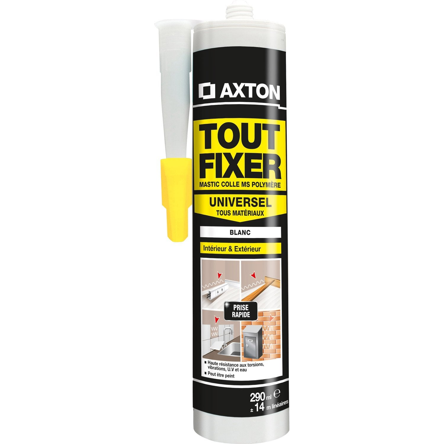 Colle mastic tout fixer axton 290 ml leroy merlin for Mastic bois exterieur