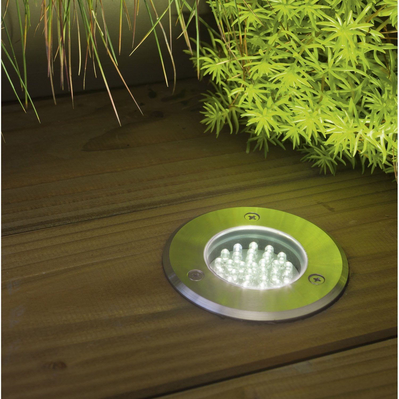 Spot encastrer ext rieur diam 7 5 cm acier inoxydable for Branchement eclairage exterieur en serie