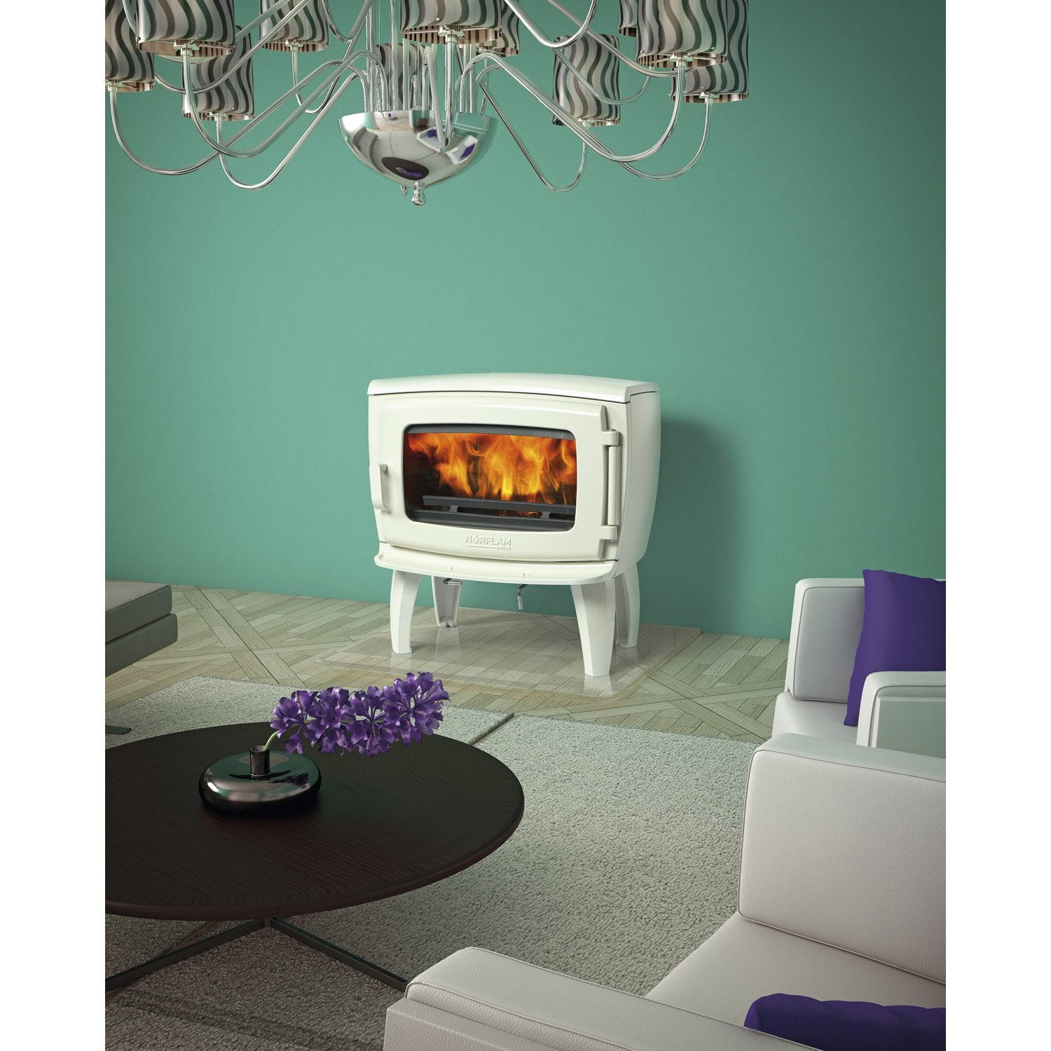 po le bois norflam by dovre pr lude emaill blanc 9 kw leroy merlin. Black Bedroom Furniture Sets. Home Design Ideas