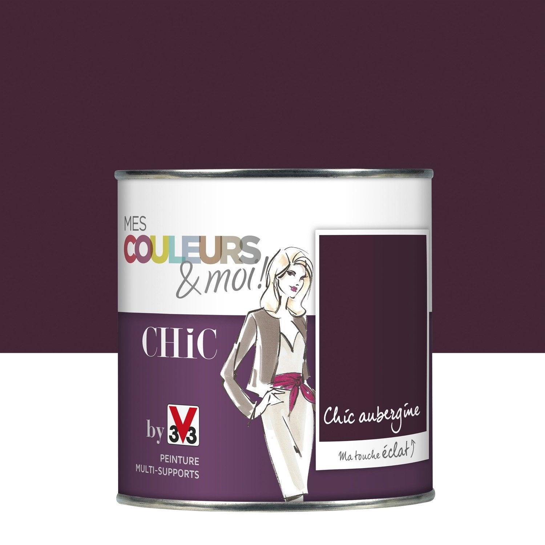 Peinture aubergine v33 mes couleurs et moi chic 0 5 l leroy merlin for Peinture couleur aubergine
