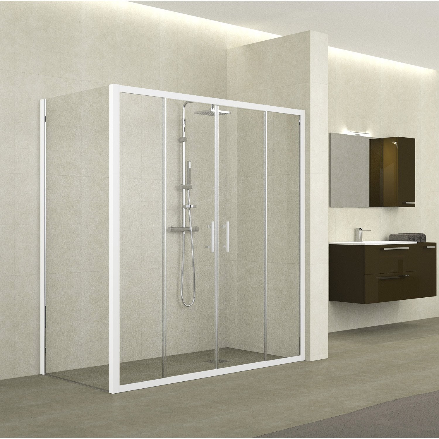 porte de douche coulissante sensea elyt 4onx verre de s curit transparent leroy merlin. Black Bedroom Furniture Sets. Home Design Ideas