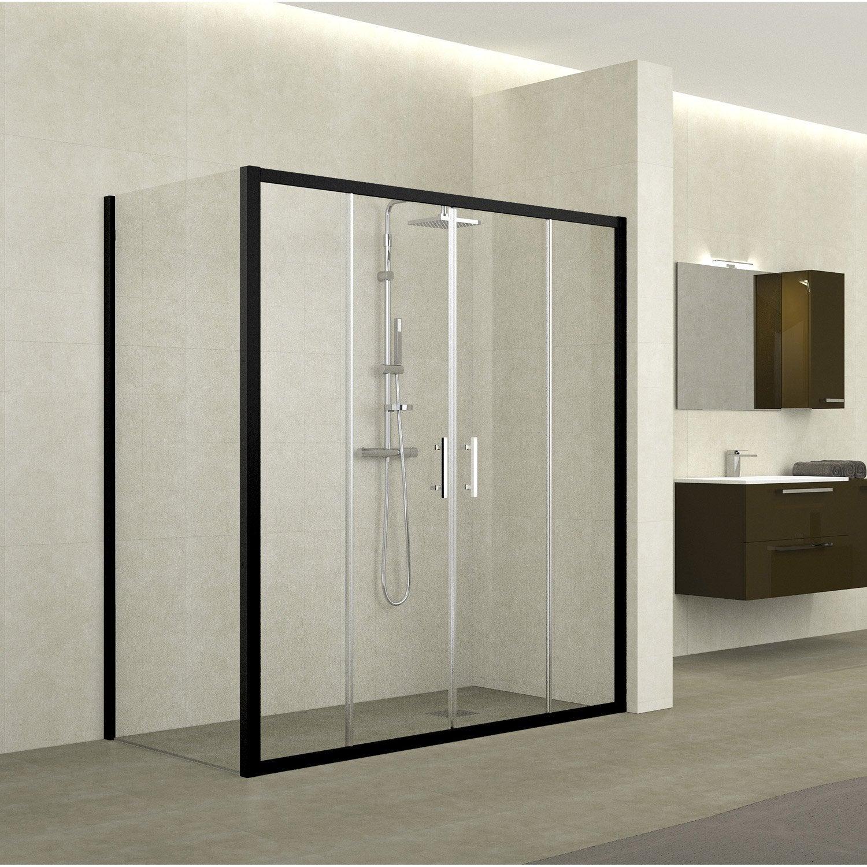 Porte de douche coulissante 164 170 cm profil noir elyt - Porte de douche hauteur 170 ...