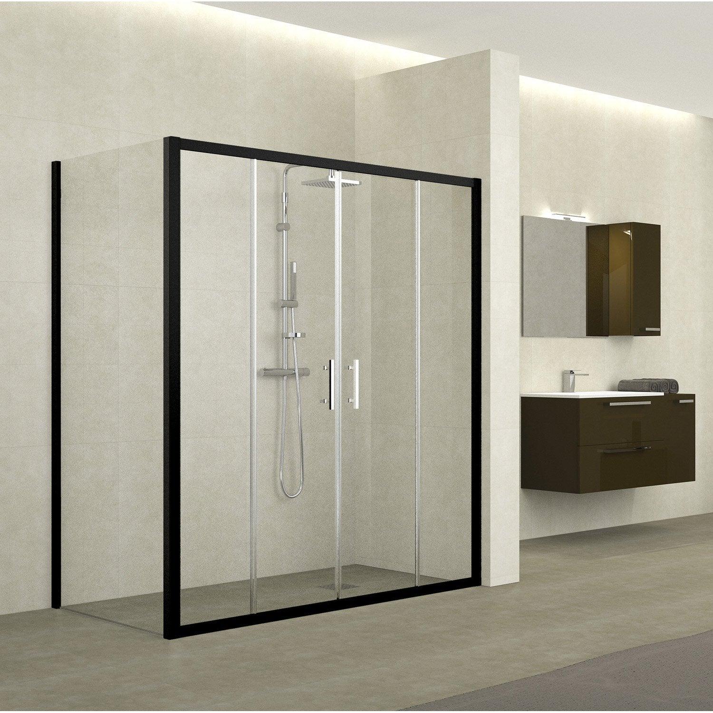 porte de douche coulissante 158 164 cm profil noir elyt 4 pnx leroy merlin. Black Bedroom Furniture Sets. Home Design Ideas