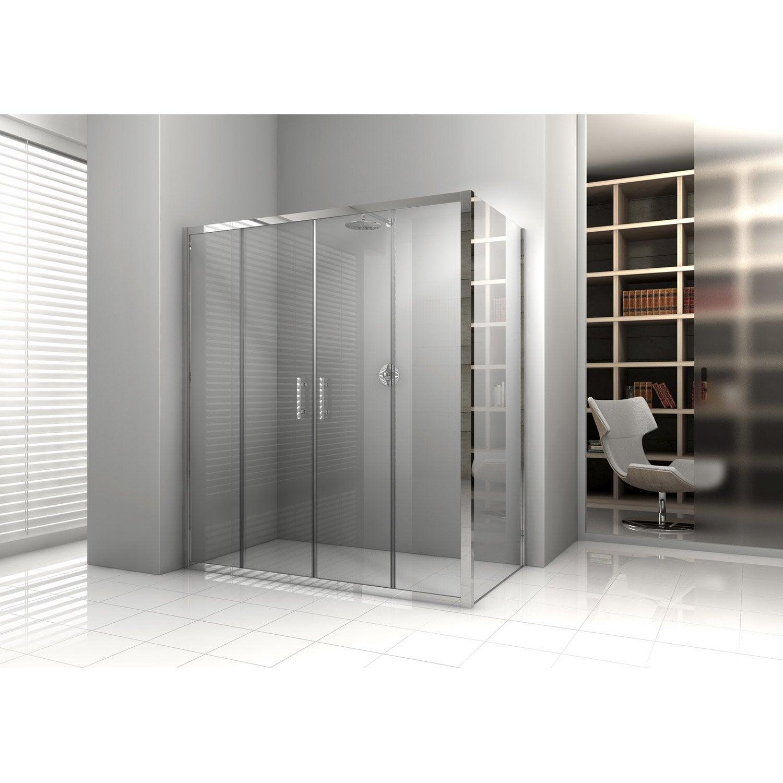 Porte de douche coulissante 158 164 cm profil chrom - Leroy merlin porte de douche ...