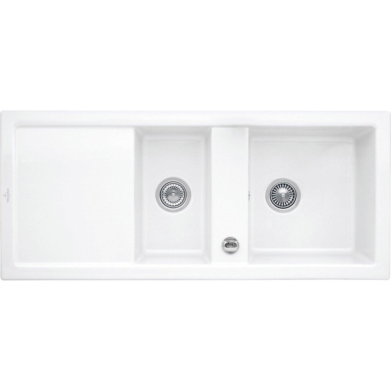 evier encastrer c ramique blanc sila 2 bacs avec. Black Bedroom Furniture Sets. Home Design Ideas