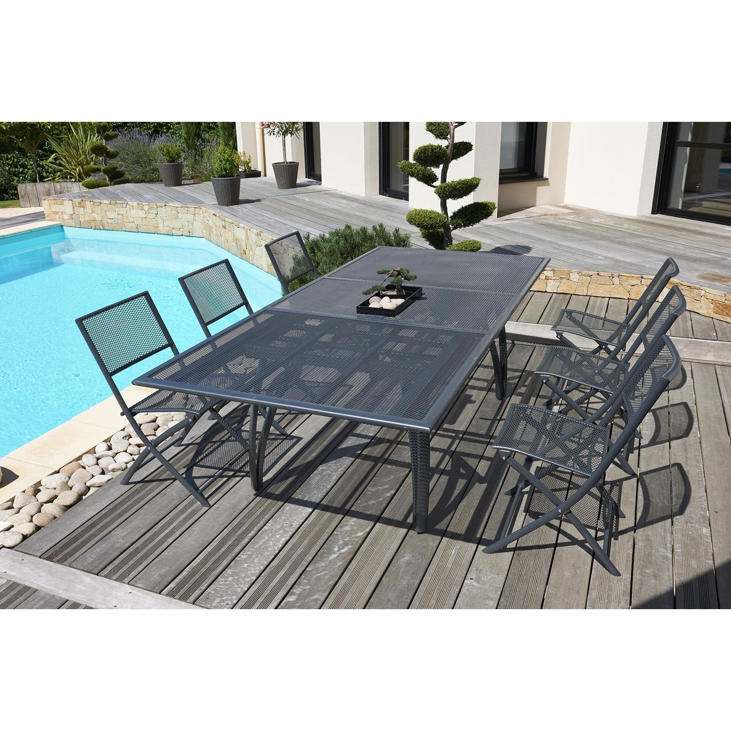 Salon de jardin gris anthracite 6 personnes leroy merlin for Salon jardin pvc gris