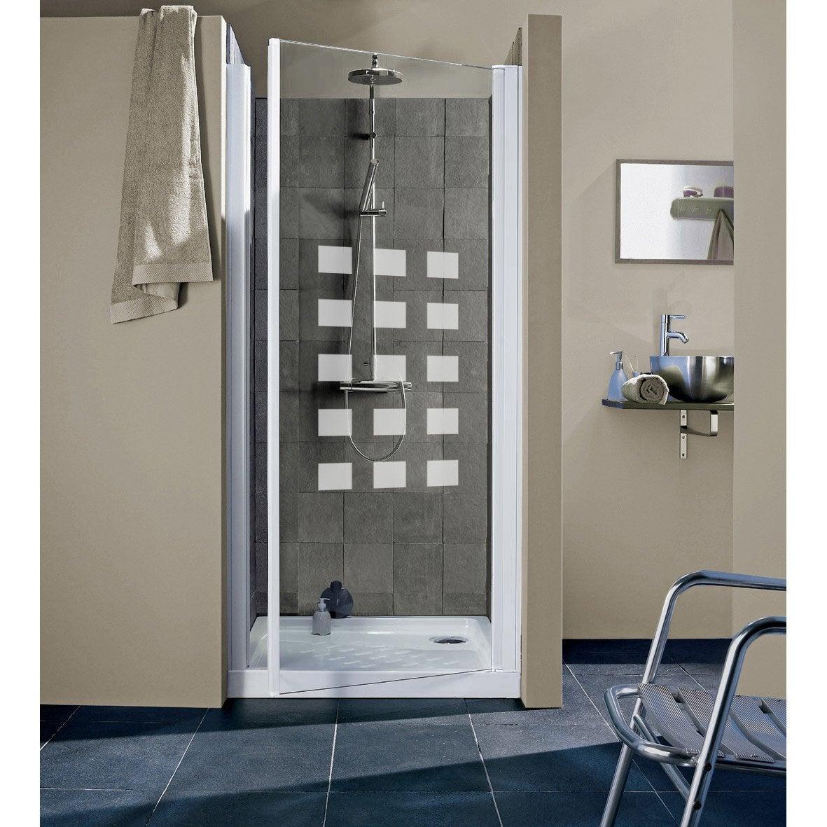porte de douche pivotante 77 81 cm profil blanc hekla. Black Bedroom Furniture Sets. Home Design Ideas