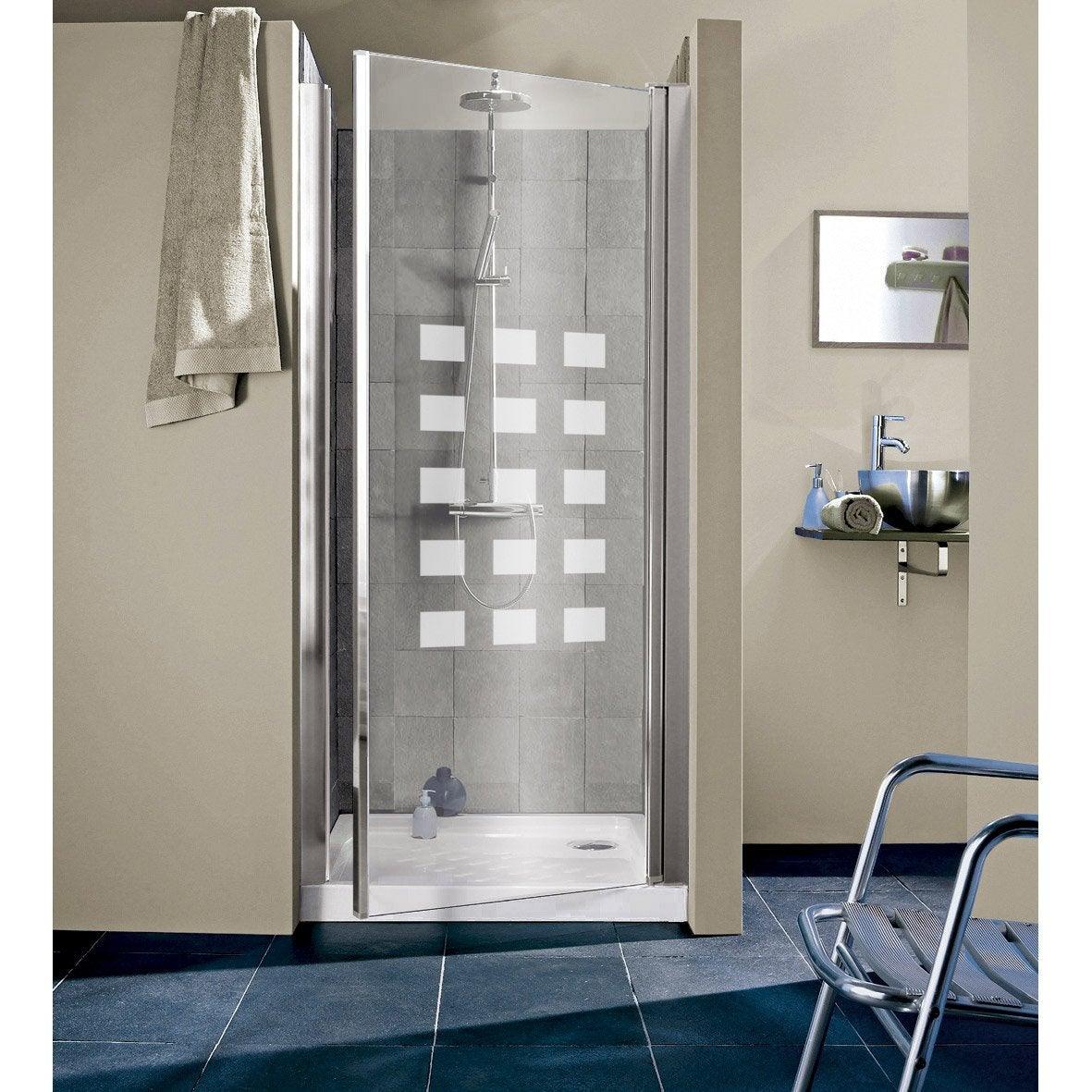 Porte de douche pivotante 97 101 cm profil chrom hekla leroy merlin for Porte de douche en verre