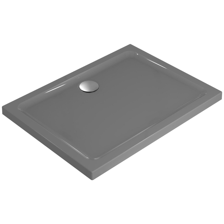 Receveur de douche rectangulaire x cm gr s blanc idealsmart ler - Receveur de douche 100x80 ...