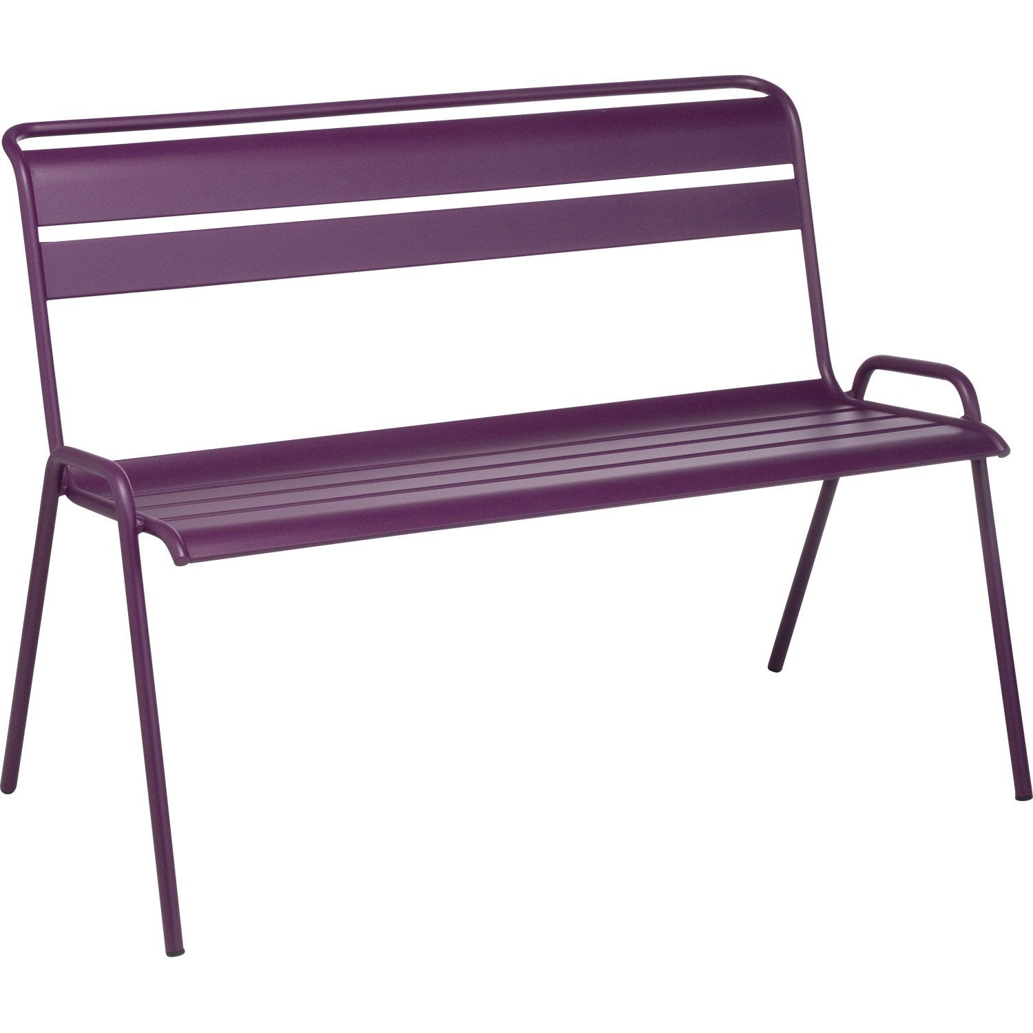 banc 2 places de jardin en acier monceau aubergine leroy merlin. Black Bedroom Furniture Sets. Home Design Ideas