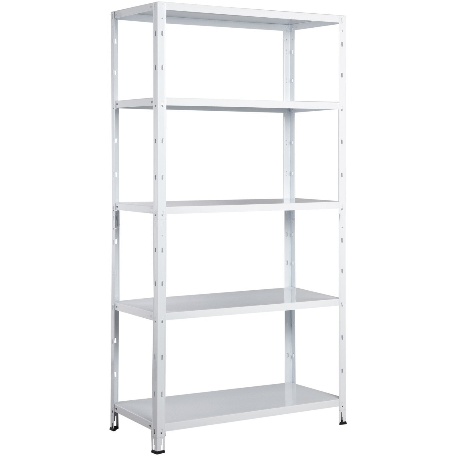 Etag re en acier epoxy blanc 5 tablettes avasco clicker - Etagere metal leroy merlin ...