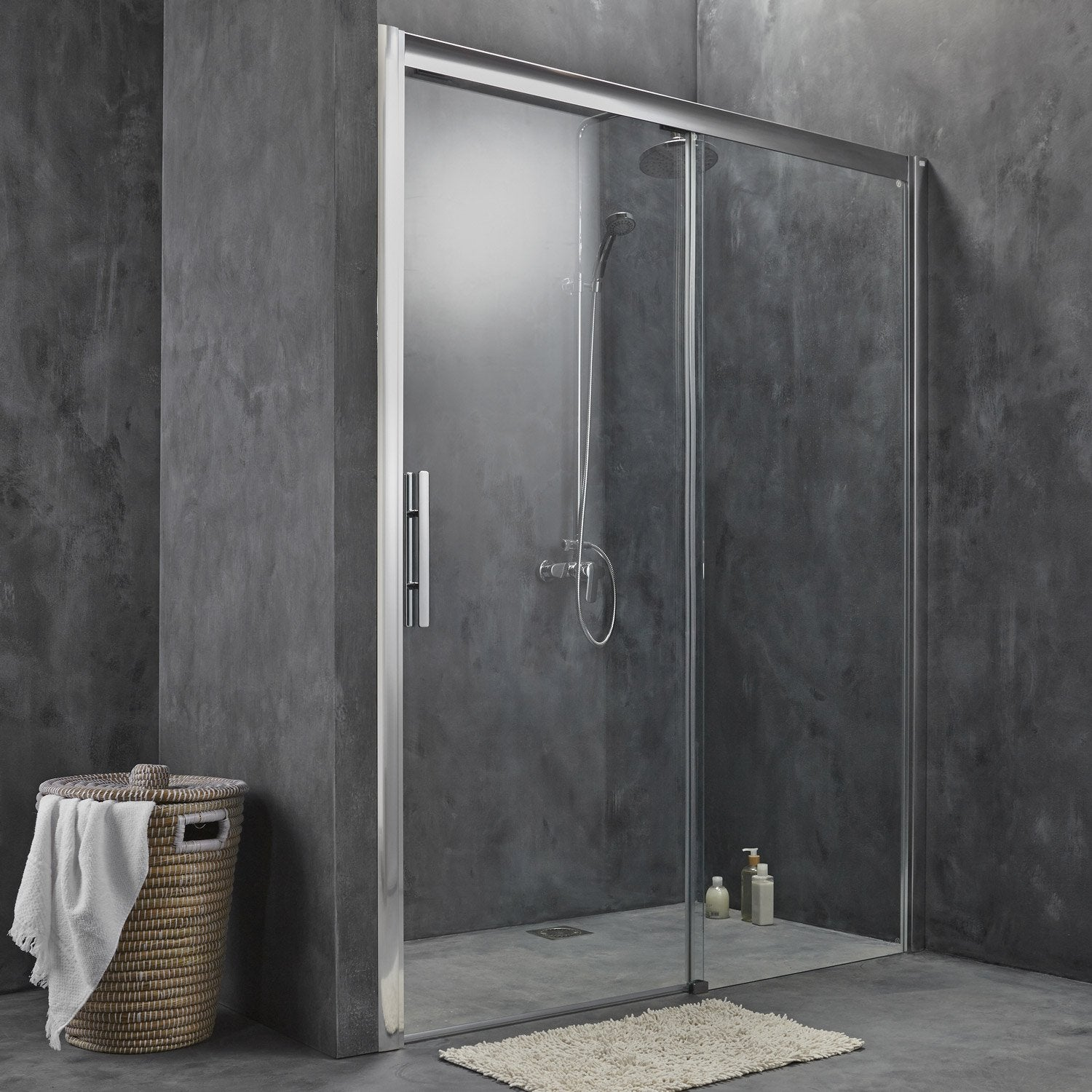 Porte de douche coulissante 170 cm transparent adena for Prix douche italienne leroy merlin