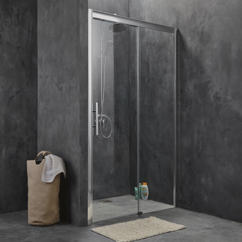Porte de douche coulissante breuer adena verre de s curit transparent ler - Porte en verre coulissante leroy merlin ...