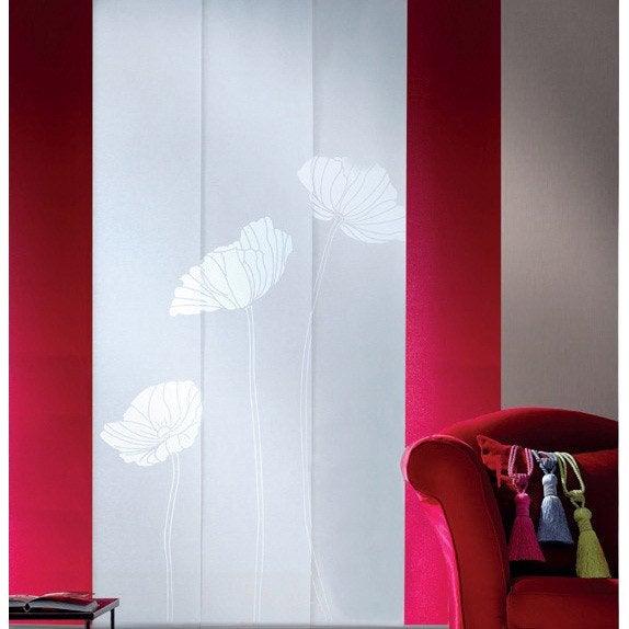 lot de 3 panneaux japonais coquelicot blanc 250 x 50 cm. Black Bedroom Furniture Sets. Home Design Ideas