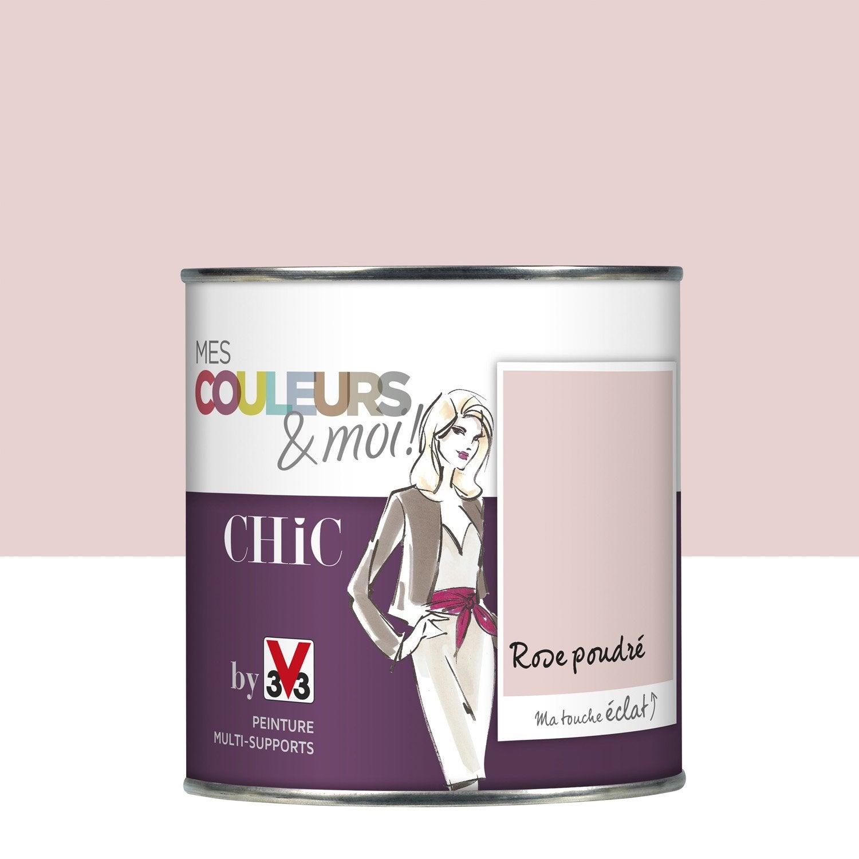 Peinture rose poudr v33 mes couleurs et moi chic 0 5 l leroy merlin for Peinture rose cuisine