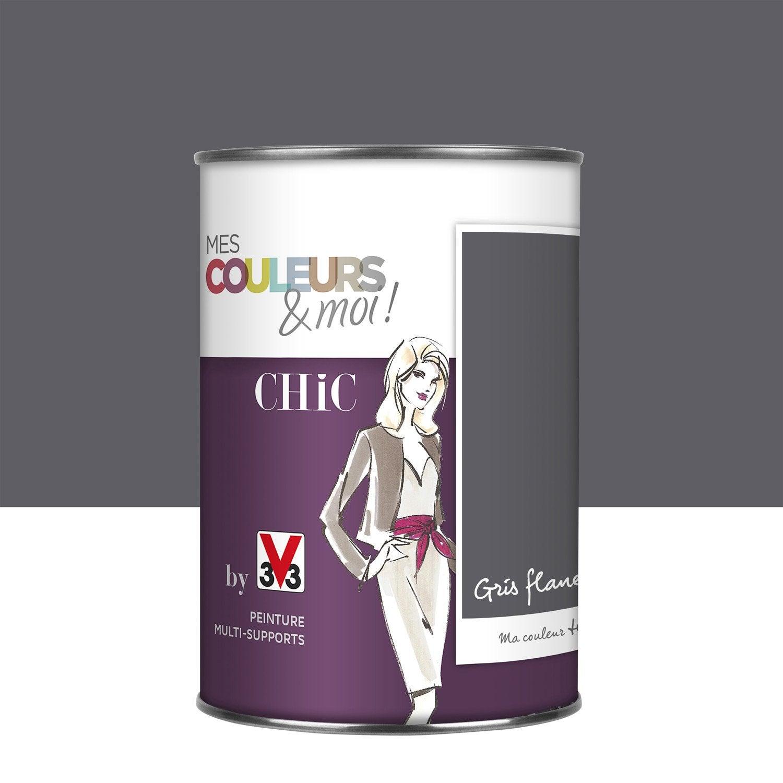 Peinture gris flanelle v33 mes couleurs et moi chic l - Peinture grise leroy merlin ...