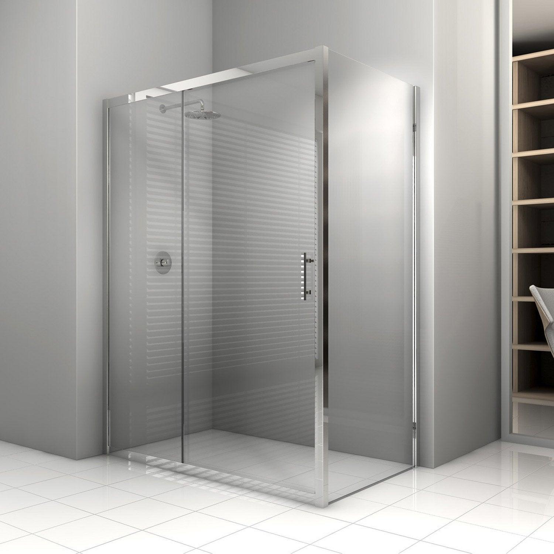 Porte de douche coulissante sensea elyt verre de s curit - Porte coulissante verre leroy merlin ...