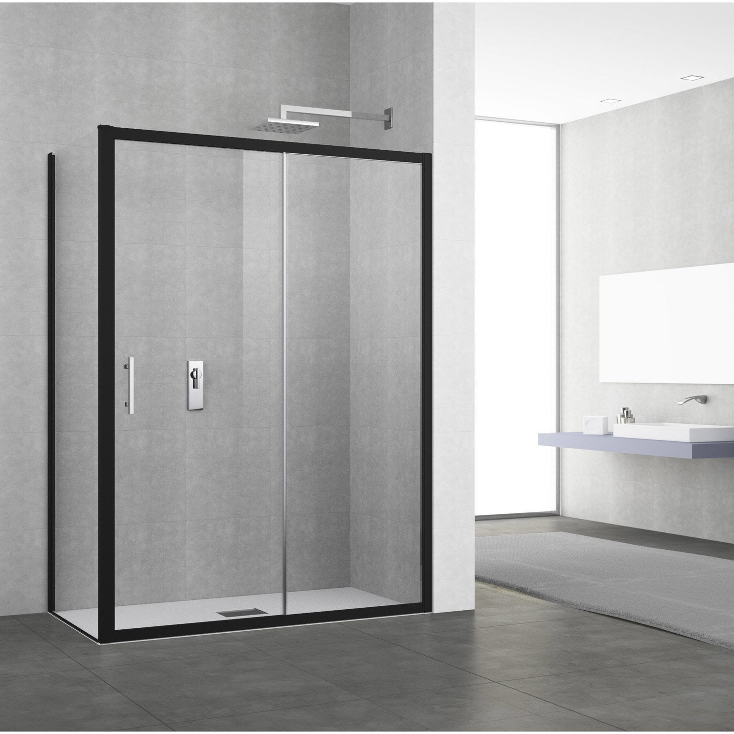 porte de douche coulissante 134 140 cm profil noir elyt 2 pnx leroy merlin. Black Bedroom Furniture Sets. Home Design Ideas