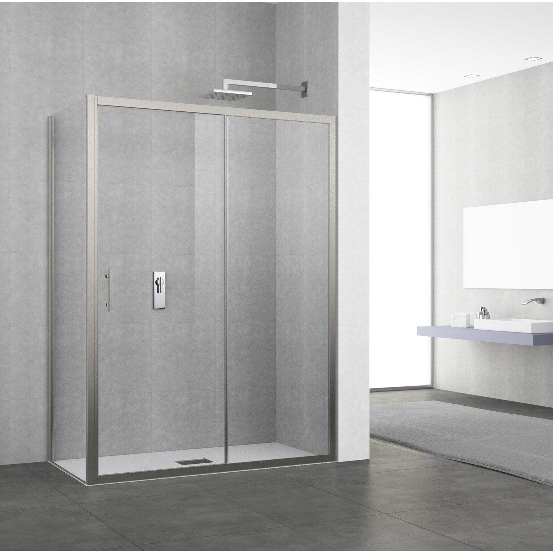 porte de douche coulissante 134 140 cm profil chrom elyt 2 pnx leroy merlin. Black Bedroom Furniture Sets. Home Design Ideas