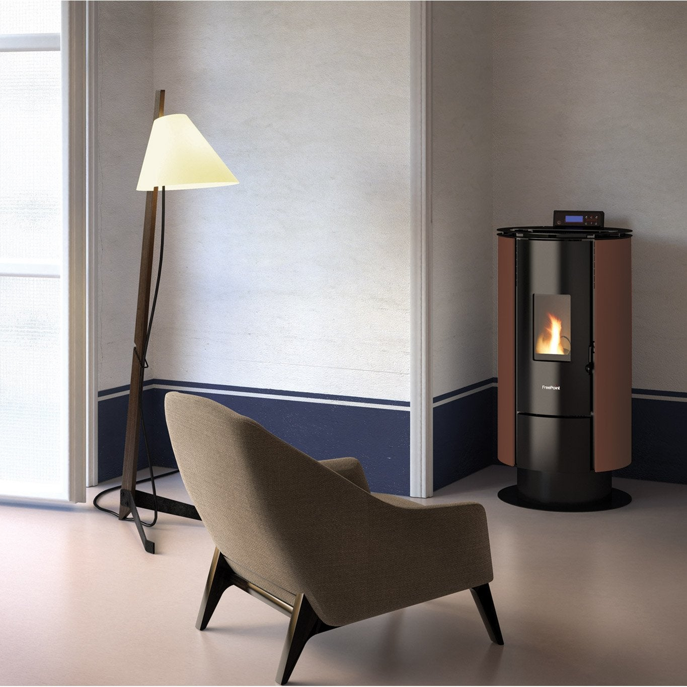 po le granul s freepoint poele a pellet flute moka 6 5 kw leroy merlin. Black Bedroom Furniture Sets. Home Design Ideas