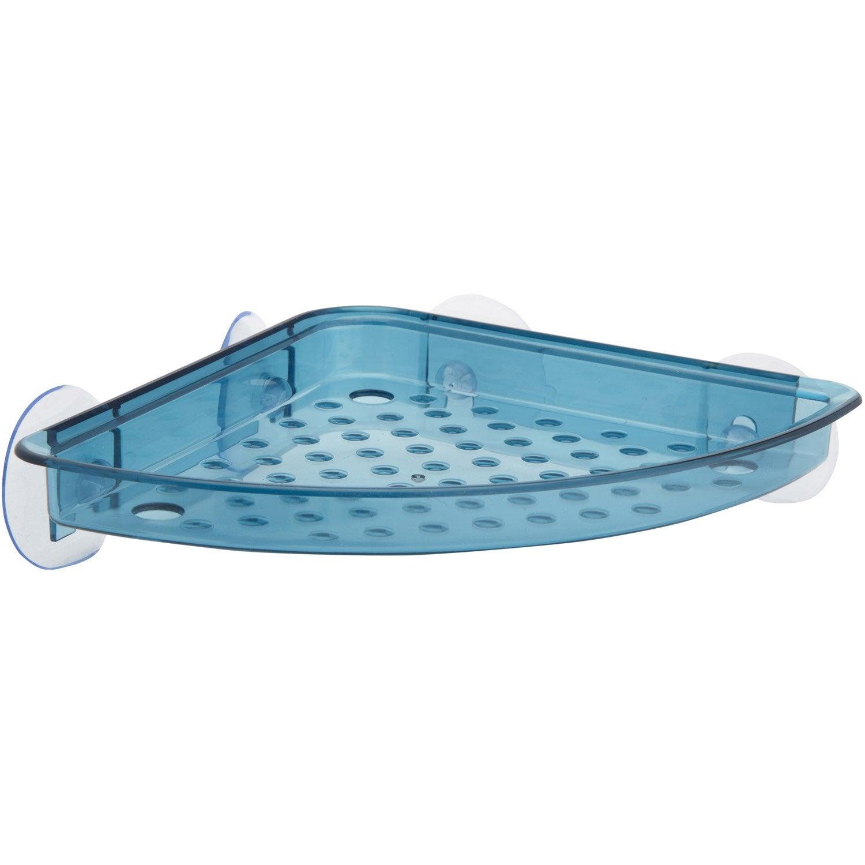 Etag re de bain douche d 39 angle play ventouses bleu - Etagere d angle leroy merlin ...