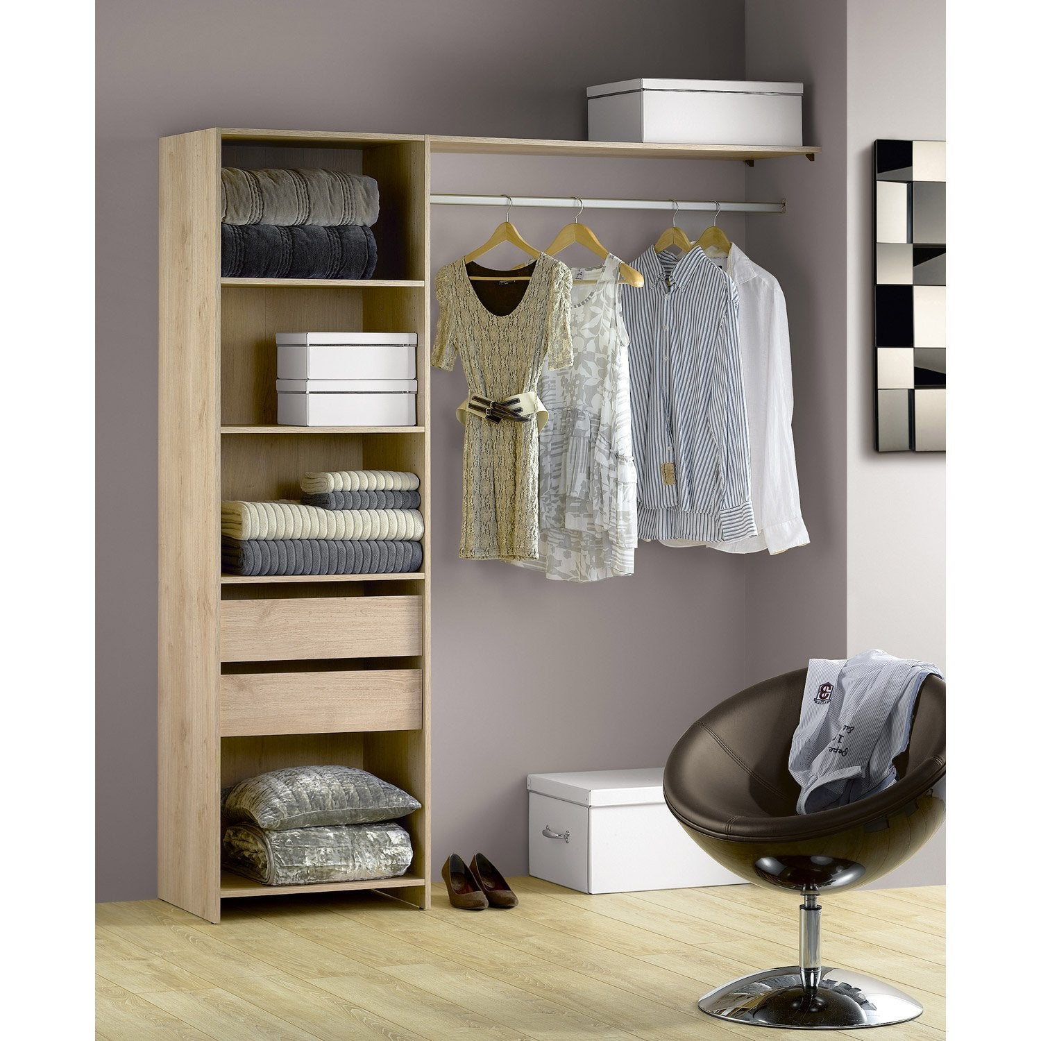 kit dressing ch ne naturel modul 39 kit h204 x l180 x p45 cm leroy merlin. Black Bedroom Furniture Sets. Home Design Ideas