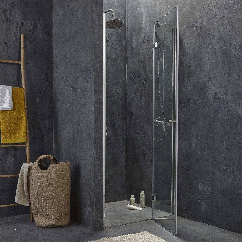 Porte de douche pivotante open 2 verre de s curit for Porte de douche 90