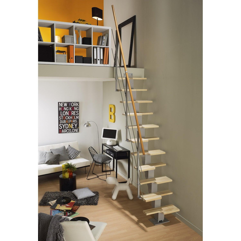 Escalier droit esca 39 deca marches bois structure m tal - Escalier bois gris ...