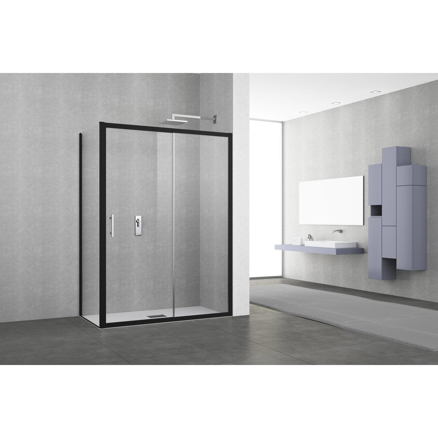 porte de douche coulissante 116 122 cm profil noir elyt 2 pnx leroy merlin. Black Bedroom Furniture Sets. Home Design Ideas