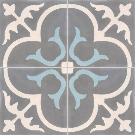 Carreau de ciment premium ch teau gris bleu 40 x 40 cm - Carreaux de ciment leroy merlin ...