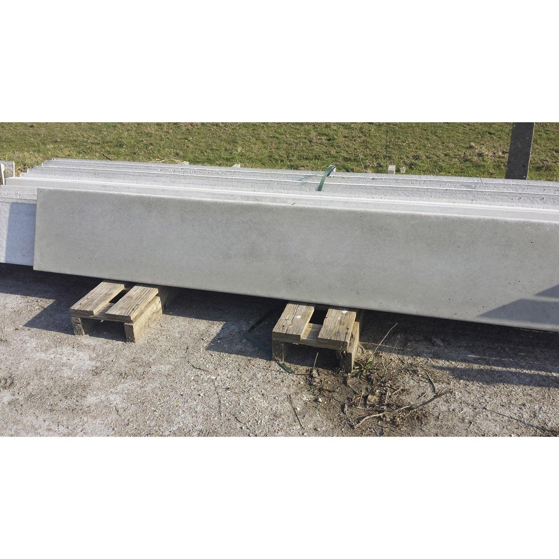 Plaque droite pour cl ture en b ton pleine x cm x ep 3 5 mm ler - Palissade beton leroy merlin ...