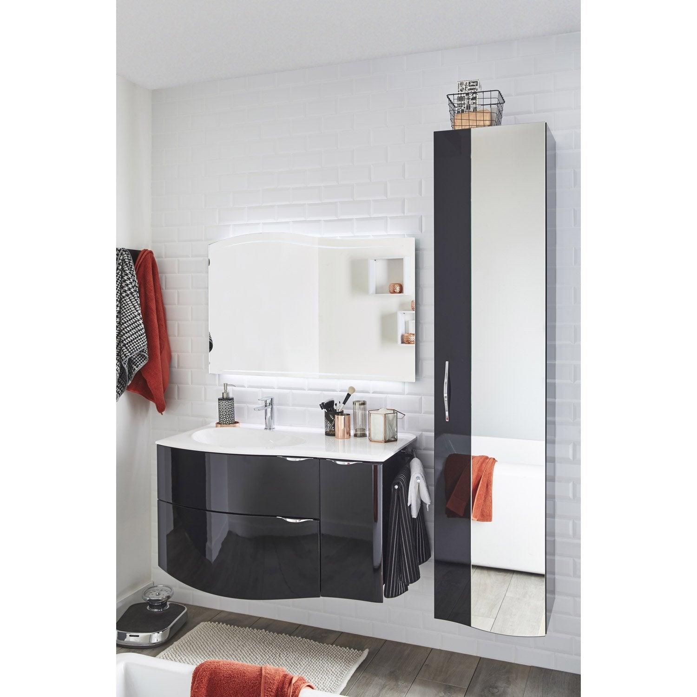 Meuble de salle de bains de 100 119 noir elegance leroy merlin for Produits salle de bain