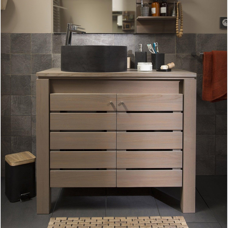 Meuble de salle de bains de 80 99 brun marron moorea for Prix meuble salle de bain leroy merlin