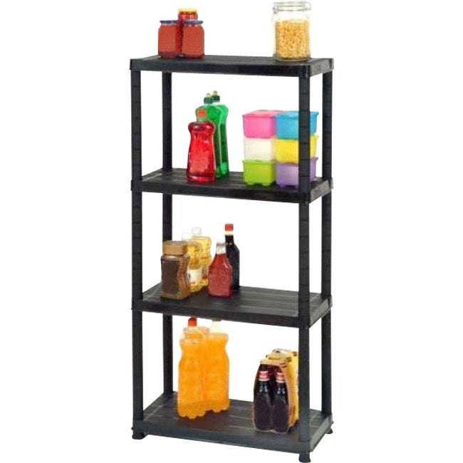 Etag re r sine 4 tablettes noir l61xh130xp31 cm leroy - Etagere modulable leroy merlin ...