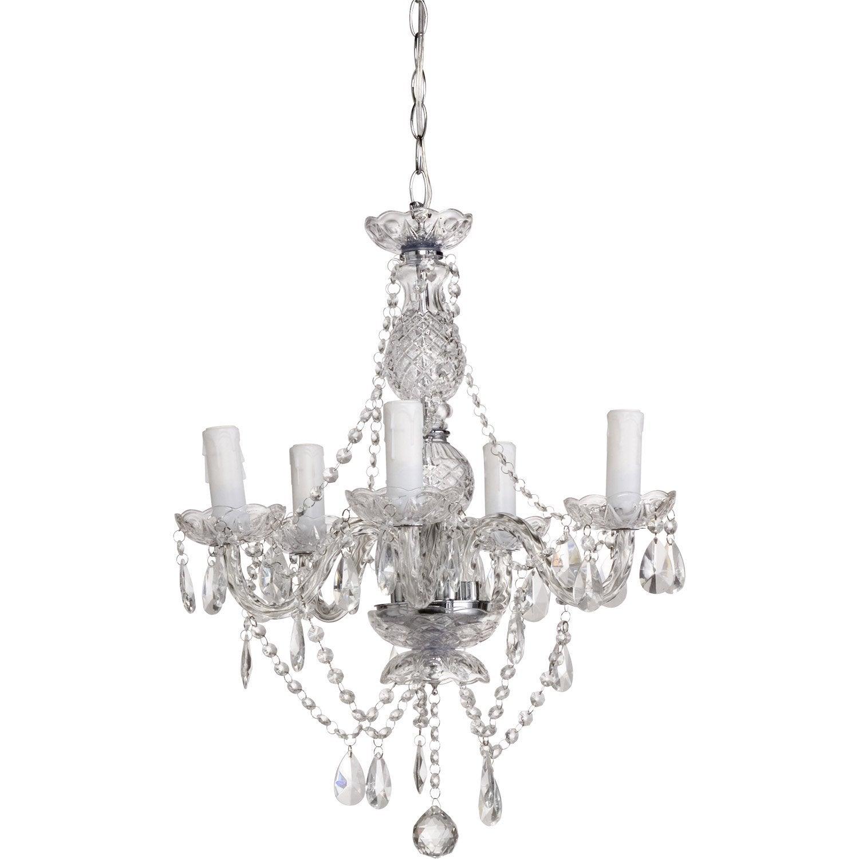 Lustre e14 baroque vienna verre transparent 5 x 40 w - Lustre leroy merlin decoration ...