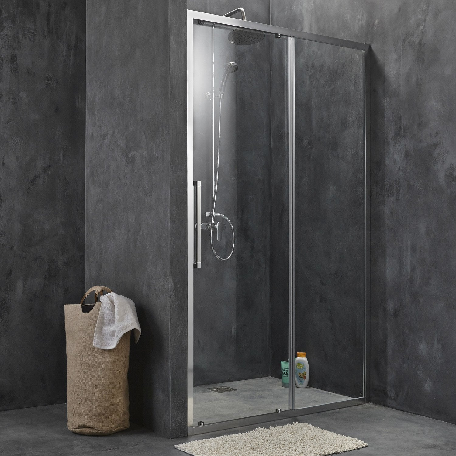 Porte de douche coulissante sensea purity 3 verre transparent chrom 100 cm - Leroy merlin porte en verre ...